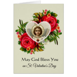 Sacred Heart of Jesus with Roses Valentine's Day Card