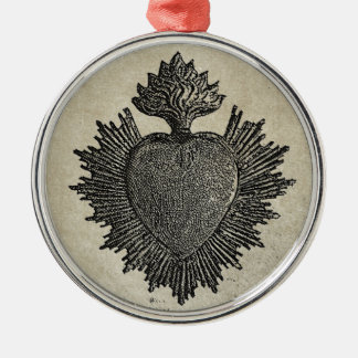Sacred Heart Silver-Colored Round Decoration