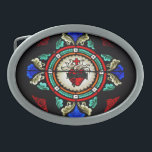 """Sacred Heart (stained glass) Buckle Oval Belt Buckle<br><div class=""""desc"""">Sacred Heart of Jesus (stained glass) from Convent Chapel at Historic St. Mary&#39;s Catholic Church in Lancaster,  PA</div>"""