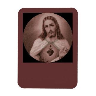 Sacred Heart with Cross Rectangular Photo Magnet