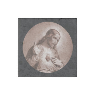 Sacred Heart with Cross Stone Magnet