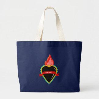 Sacred Heart with True Love Ribbon Sash Canvas Bag
