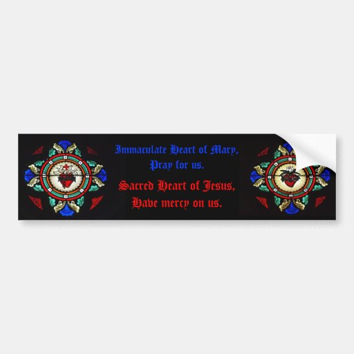 Sacred Hearts of Jesus & Mary Stained Glass Bumper Car Bumper Sticker