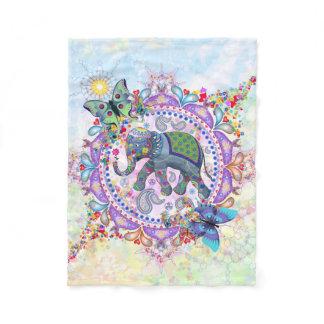 Sacred Henna Elephant Fleece Blanket