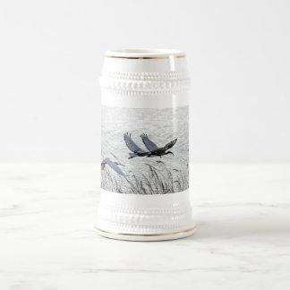 Sacred ibises in flight 18 oz beer stein