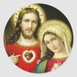 Sacred Immaculate Heart Jesus Mary Classic Round Sticker