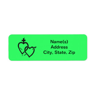 Sacred Immaculate Hearts Black Address Label