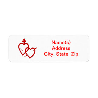 Sacred Immaculate Hearts Red Address Label