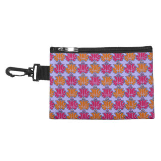 Sacred Indian lotus flower pattern, orange fuchsia Accessory Bags