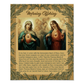 Sacred Jesus Immaculate Heart Mary Angels Cherubs Poster