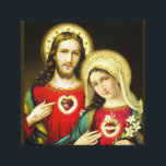 """Sacred Jesus Immaculate Heart Mary Canvas Print<br><div class=""""desc"""">Beautiful image of the Sacred Heart of Jesus and the Immaculate Heart of Mary</div>"""