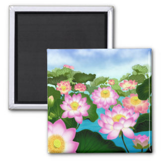 Sacred Lotus Flowers 2 Inch Square Magnet