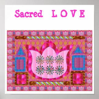 SACRED LOVE n  LOTUS Flower with GEMS Poster