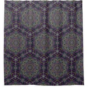 Sacred Mandala Stars And Lace Purple Black Shower Curtain