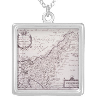 Sacred Map of Palestine, The Promised Land Square Pendant Necklace