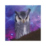 Sacred owl and fantasy sky stretched canvas prints