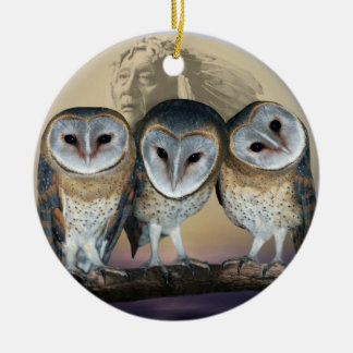Sacred Owl North American Indian Ceramic Ornament