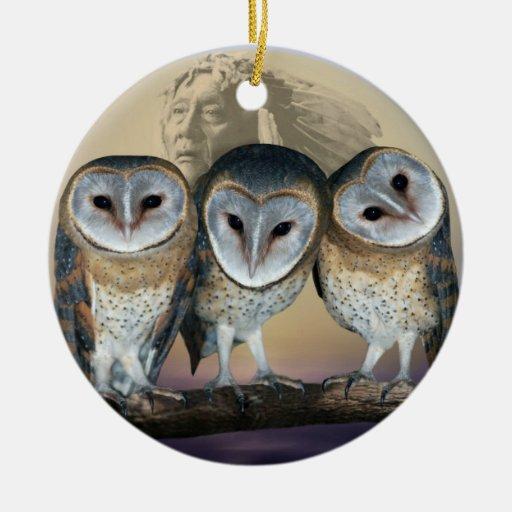 Sacred owls christmas tree ornament