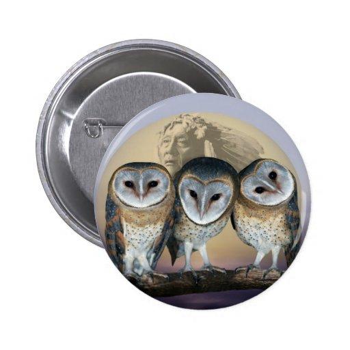 Sacred owls pinback button