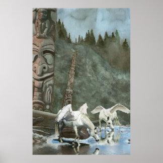 Sacred Pegasi, River and Totem Poles Fantasy Art Poster
