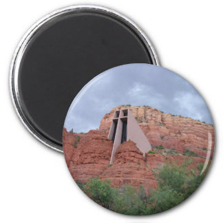 Sacred Places -Chapel of the Holy Cross Sedona, AZ 2 Inch Round Magnet