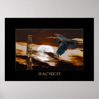SACRED Raven, Moon & Totem Pole Art Poster zazzle_print