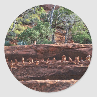sacred rock pile army classic round sticker
