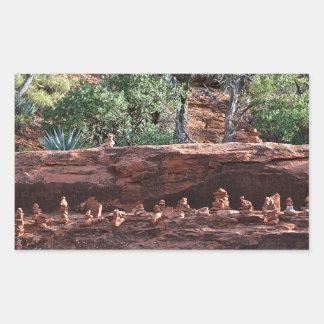 sacred rock pile army rectangular sticker