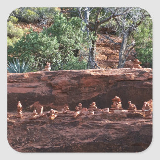 sacred rock pile army square sticker