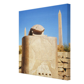 Sacred scarab statue in the Temple of Amun Canvas Print