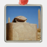Sacred scarab statue in the Temple of Amun Square Metal Christmas Ornament