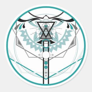 sacred solar glyph classic round sticker