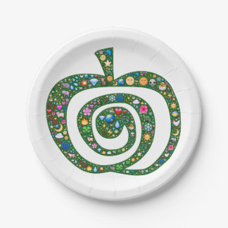 Sacred spiral Apple filled with nature emoji 7 Inch Paper Plate