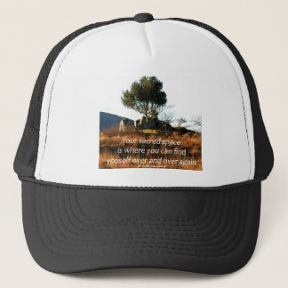 Sacred tree with Joseph Campbell quote.jpg Trucker Hat