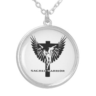 sacred warrior crucifix and wings logo round pendant necklace