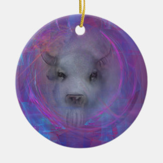 """Sacred """"White Buffalo"""" """"native american"""" gifts Double-Sided Ceramic Round Christmas Ornament"""