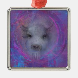 "Sacred ""White Buffalo"" ""native american"" gifts Square Metal Christmas Ornament"