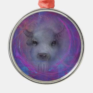 "Sacred ""White Buffalo"" ""native american"" gifts Round Metal Christmas Ornament"