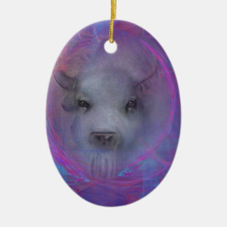 """Sacred """"White Buffalo"""" """"native american"""" gifts Double-Sided Oval Ceramic Christmas Ornament"""