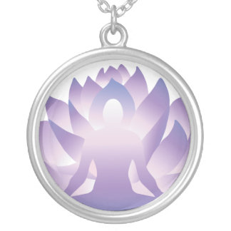 Sacred Yoga Lotus Sterling Silver Plate Necklace