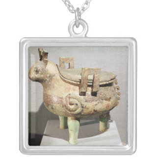 Sacrificial 'hsi-ting' animal figure silver plated necklace