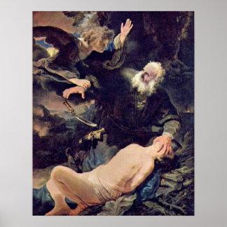 Sacrificio de Isaac de Rembrandt Van Rijn Póster