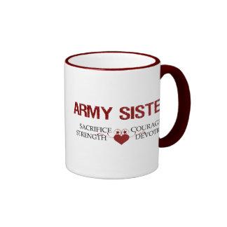 Sacrificio de la hermana del ejército, fuerza, taza de dos colores