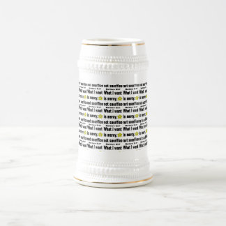 Sacrificio negro de la misericordia no tejado jarra de cerveza
