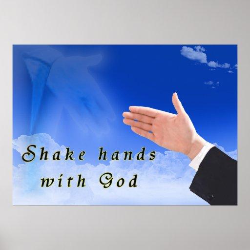 Sacuda las manos con dios póster
