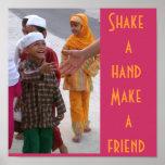 Sacuda una mano, haga a un amigo posters