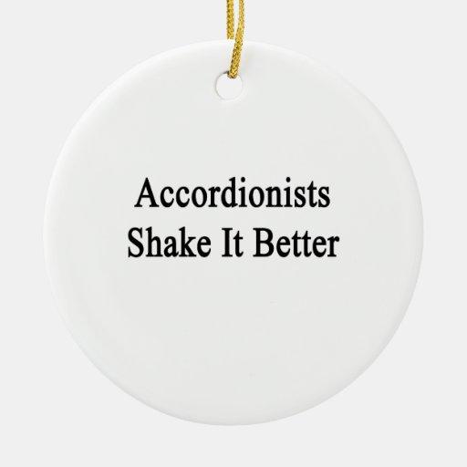 Sacudida de los acordeonistas él mejor adorno navideño redondo de cerámica