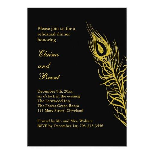 Sacudida de oro su cena del ensayo de las plumas invitación 12,7 x 17,8 cm