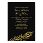 Sacudida de oro sus plumas de cola que casan la invitación 12,7 x 17,8 cm