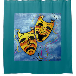 SAD AND HAPPY  MASKS SHOWER CURTAIN